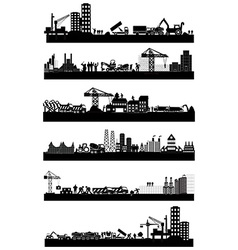 Construction site skyline set vector