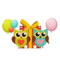 Cute Owl Happy Birthday Background with Gift Box vector