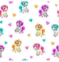 Cute seamless pattern with funny cartoon pony vector