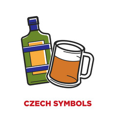 Czech symbols poster with bottle of liquor and mug vector