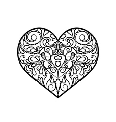 Decorative monochrome abstract heart vector