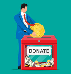 donation box with money vector image