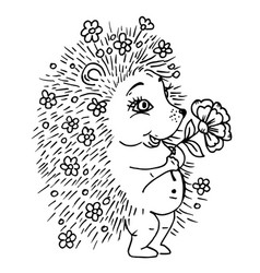 doodle cute hedgehog with a flower and flowers vector image