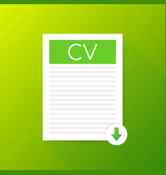 Download cv button downloading document concept vector