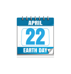 Earth day date in the calendar 22 april vector