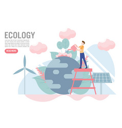 ecology concept with charactercreative flat vector image