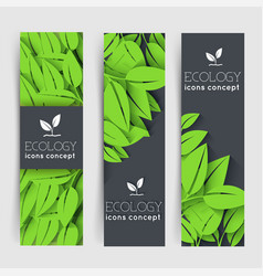 flat eco leaf vertical banners concept vector image