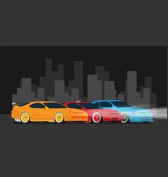 flat racing car set in the night city street vector image