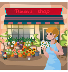 Florist girl holding a pot flowers in the vector