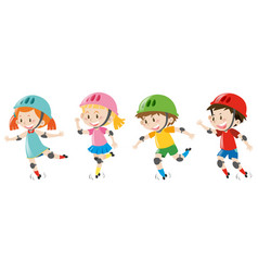 Four kids wearing helmet vector