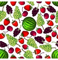 Fresh fruits berries seamless pattern background vector
