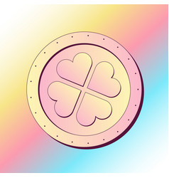 golden coin with four leave clover vector image