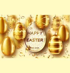 golden eggs realistic easter sale banner vector image