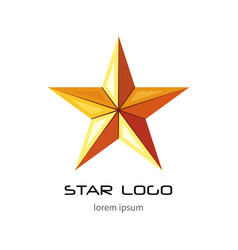 golden star logo template yellow military icon vector image