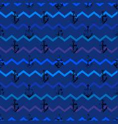 Grunge seamless pattern with anchors vector