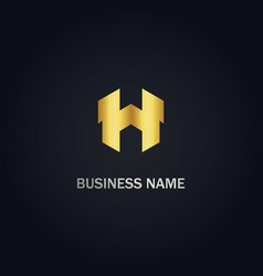 h initial gold logo vector image