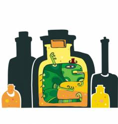 Halloween monster in the bottle vector