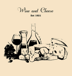Hand draw vintage set of cheese and wine vector