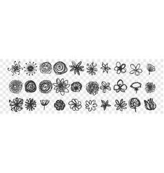 Hand drawn flowers doodle set vector