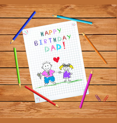 happy birthday dad drawing father and daughter vector image