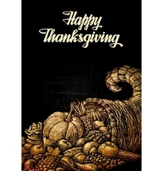 Happy Thanksgiving Cornucopia or Horn of plenty vector