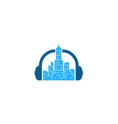 Headphone town logo icon design vector
