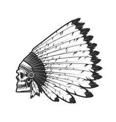 indian chief skull in indigenous headdress sign vector image
