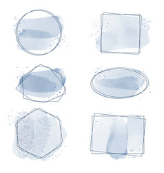 indigo blue watercolor splash with geometric vector image