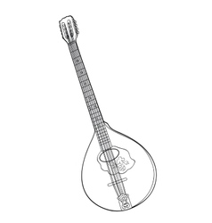 Irish bouzouki in hand drawn tehnique vector image