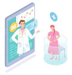 Isometric online medicine pregnant woman vector