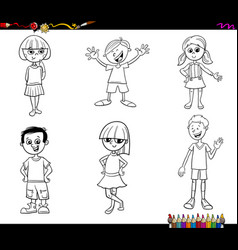 kids or teen characters set coloring book vector image