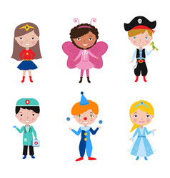 Kids wearing different costumes for costume party vector