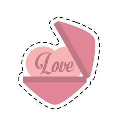 love heart message cut line vector image