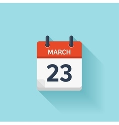 March 23 flat daily calendar icon Date vector image