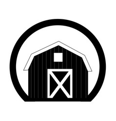 Monochrome circular frame with barn of two floors vector