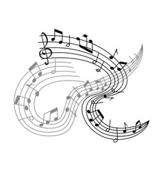 music poster or musical notes staff icon vector image