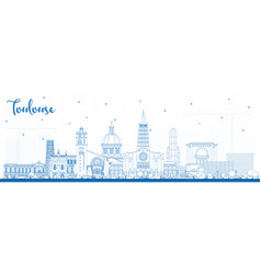 outline toulouse france city skyline with blue vector image