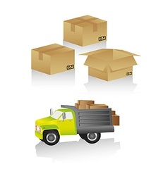 Package delivery includes truck and boxes in diffe vector