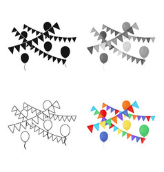 Party flags and balloons icon in cartoon style vector