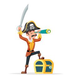 Pirate adventurer spyglass treasure chest vector