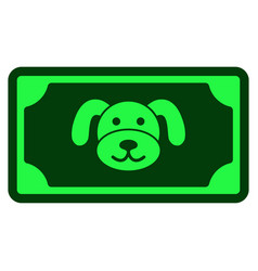 Puppy banknote flat icon vector