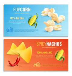 Realistic corn horizontal banners vector