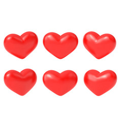 realistic red hearts romantic 3d heart isolated vector image