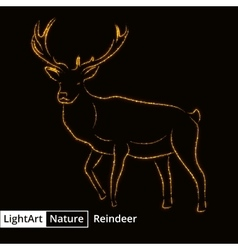 Reindeer silhouette of lights on black background vector image