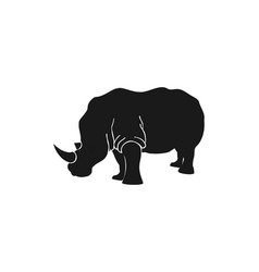 rhino silhouette view side for retro logo vector image