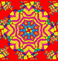 Seamless pattern ethnic mandalas doodle vector