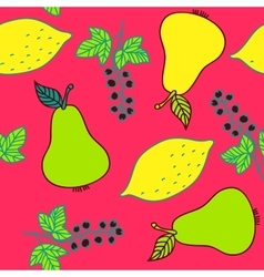 Seamless pattern of currant pear and lemons vector