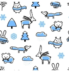 Seamless pattern with doodle winter vector