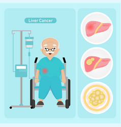 Senior man patient with liver cancer vector