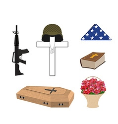 Set for burial of the soldier Military funerals vector image